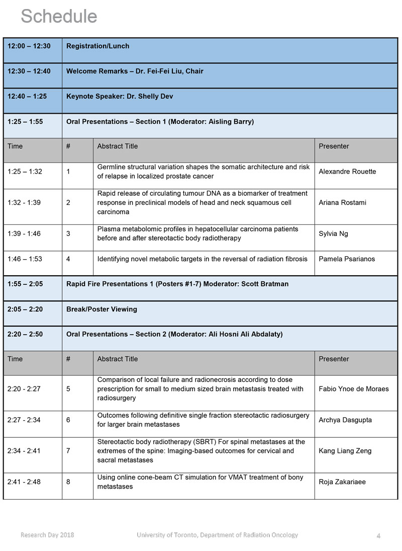 Research Day Schedule